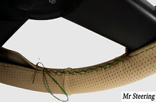 FOR MERCEDES E-CLASS W212 BEIGE PERFORATED LEATHER STEERING WHEEL COVER GREEN ST