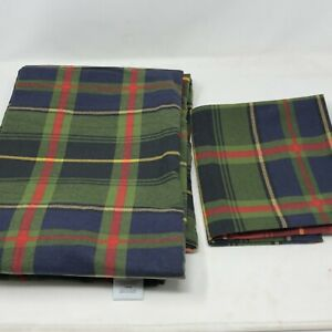 Martha Stewart Twin Flat Sheet & Pillow Case Blue Green Plaid 100% Cotton Turkey