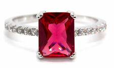 Ruby And Diamond 2.95ct Sterling Silver Ring (925) Size 7 (N)