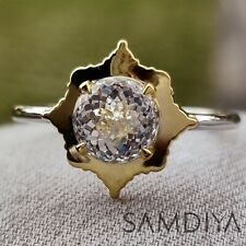 Engagement ring 1.80 CT Portuguese Cut Colorless Moissanite 14k White Gold Ring