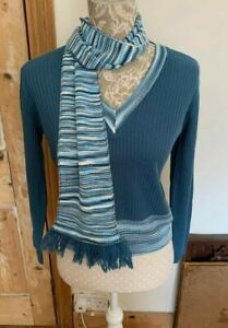VINTAGE 1960S 1970S VICTOR BRIGHT BLUE V NECK JUMPER WITH MATCHING SCARF