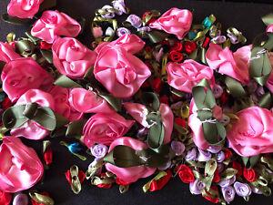 100 c Random mix of ribbon Rose Embellishments Appliques Craft