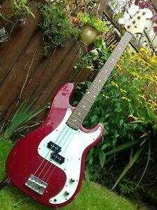 1991 Squier by Fender Precision Electric P Bass Guitar Samick Korea Korean Red