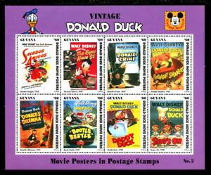 GUYANA, 2771, 1993 VINTAGE DONALD DUCK, M/S OF 8,  MNH (GUY005)
