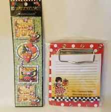 Mary Engelbreit Christmas Lot Mini Clipboard Notes Pad & Dimensional Stickers