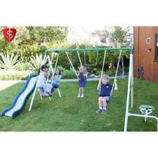 Metal Swing Set Play Slide  Outdoor Kids Backyard Playset Sportspower Muticolors