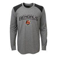 "Cincinnati Bengals NFL Youth Grey ""Half Moon"" Long Sleeve Performance T-Shirt"