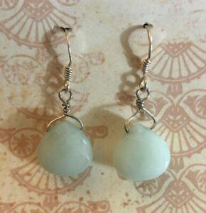 """Jade Earrings Mint Green Briolette Handmade 925 Sterling Silver Hooks 1.25"""" 1112"""