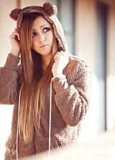 New Women Warm Cute Teddy Bear Ear Coat Hoodie Hooded Jacket Fleece Outerwear