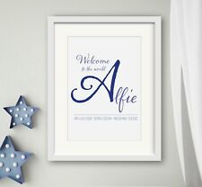 BOY New Birth Newborn Personalised Name Print Christening Gift Nursery WELCOME