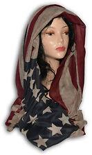 PASHMINA ÉCHARPE HOMME FEMME BANDIERA AMÉRIQUE USA VINTAGE BEIGE ROUGE BLEU 1071