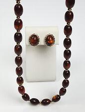 Avon jewelry set 1980 Turtle Bay brown faux tortoiseshell necklace clip earrings