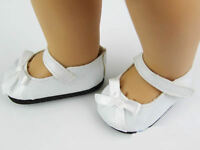 "Doll Shoes White Color with Bow Fits 18"" American Girl Doll Clothes shoes"