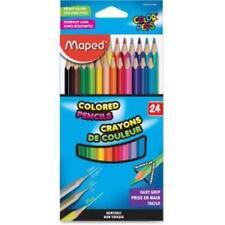 Helix Woodcase Colored Pencils - Assorted Lead - Wood Barrel - 24 / Box