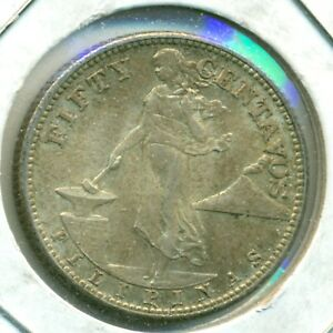1944-S PHILIPPINES FIFTY CENTAVOS, BRILLIANT UNCIRCULATED, GREAT PRICE!