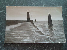 Vintage REAL PHOTO Postcard The Lighthouse Berwick Pier Franked+Stamped 1911