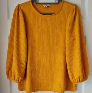 Next Ladies 3/4 Sleeve Ochre Loose Fitting Top Size 14