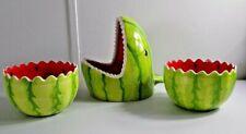 New ListingShark Whale Watermelon Bowls Serving Set 3 Pieces Ceramic Collections Etc Summer