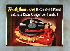 "Vintage Style Radio Ad Fridge Magnet 2 1/2"" x 3 1/2"" Zenith Record Player Lp"