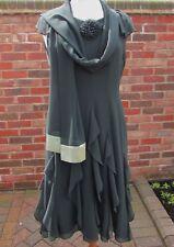 Jacques Vert Acorn Range Dark Green Dress & Silk Trim Stole - Size 14