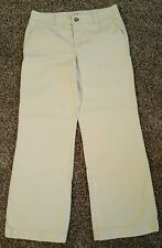 SZ 10 Khaki Beige Stretch Dress Pants Textured 2 Front 2 Back Pockets EUC