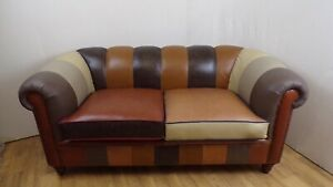 Chesterfield Patchwork Style Leather Sofa