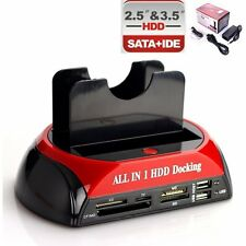 "SATA  IDE HDD Hard Clone Drive Disk Docking Holder Dock Station Dual 2.5"" 3.5"""