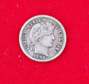 1892 10c Silver Barber Dime -