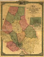 A4 Reprint of American Cities Towns States Map Baltimore Maryland