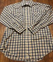 Tem Tex Brown Checked Plaid Pearl Snap Western Shirt Size Medium