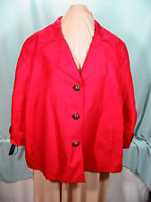 Talbots Red Jacket 22 W Bust 46 in  Cotton Linen Fully Lined Polyester NWT