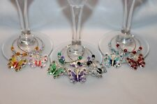 Butterfly Wine Charms Set of 7 Spring Wine Charms Butterfly Charms Summer Charms