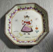 VTG MCM VITALI Signed Ceramic Enamel Decorative Plate Traditional Dress Italy