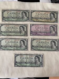 canada 1954 Dollars Bills devil's face Lot Of 7 Circulated Notes