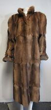 White House Furs brown Badger & Persian genuine fur full- length coat sz L