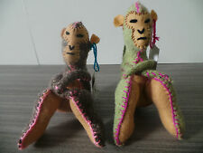 """SET OF 2 MONKEYS TWOOLIES HANDMADE WOOL ANIMAL CHILD MEXICO SMALL PAIR 6"""" TALL"""