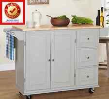 Rolling Kitchen Island Wood Cart w/ 3 Drawer Cabinet Spice Rack Drop Leaf - GREY