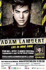 """ADAM LAMBERT """"LIVE IN HONG KONG"""" 2013 CONCERT TOUR POSTER - Pop, Pop Rock Music"""