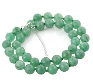 """GREEN AVENTURINE 10 mm BEAD Necklace knotted with 925 Silver extender 18+2"""""""