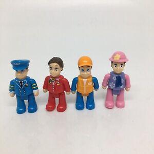 """4 Little Dollhouse People Figures 3"""" tall- Pilot, Woman, Boy, Stewardess ?"""