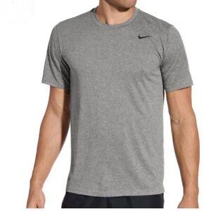 Nike Dri Fit Legend Gray Crew Running Training Tee Shirt New