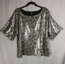 6TH & LN Women's Clear Sequins Over Jaguar print Size 18/20