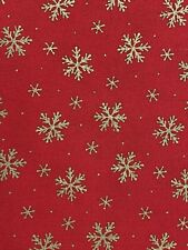 Christmas Fabric Red, Gold Snowflakes 100%  Cotton