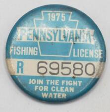 1975 Pa Pennsylvania Fishing License Resident Blue Button Vintage