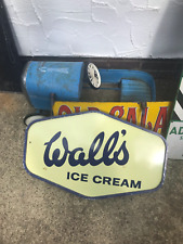 More details for original enamel wall's ice cream double sided sign with bracket.
