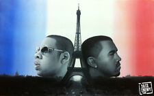 Jay Z Kanye West - Hand OIL PAINTING canvas signed POP ART Niggas in Paris Rap