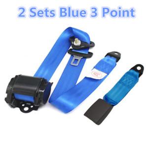 2X Blue Retractable Seat Belt 3 Point Auto Car Truck Lap Adjustable Safety Belt