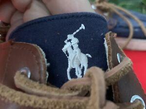 POLO Ralph Lauren Rylander Boat Deck Loafers Canvas Leather Shoes Sz 11 ❤️sj18m5