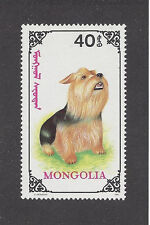 Dog Art Full Body Portrait Postage Stamp Yorkshire Silky Terrier Mongolia Mnh