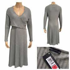 M&S Collection Womens Mid Grey Ribbed Fit And Flare Midi Dress Size 18 UK NEW